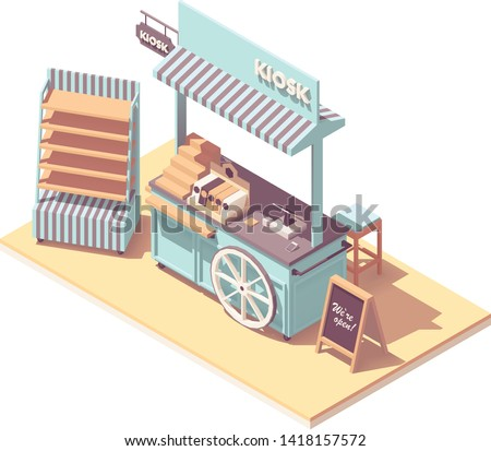 Vector isometric retail kiosk or cart stand. Retro design with wooden wheel, awning, shelves, cash register, credit card payment terminal
