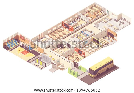 Vector isometric school or college building cross-section. Classrooms, basketball gym, lecture hall, library, music and art classes, teachers room, cafeteria and school bus