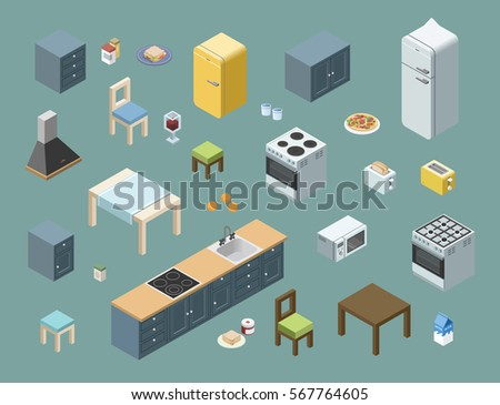 Vector isometric set of kitchen furniture, 3d flat interior design icons. home electric equipment.