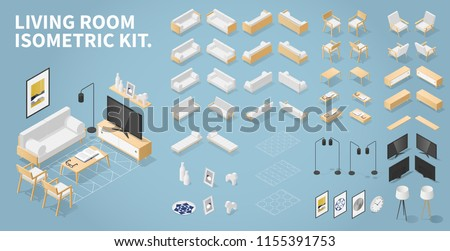 Vector isometric set of living room objects. Kit contains couch, chair, armchair, coffee tables, Tv stand and TV, lamps, carpets, wall decorations. If an object has one projection just mirror it.