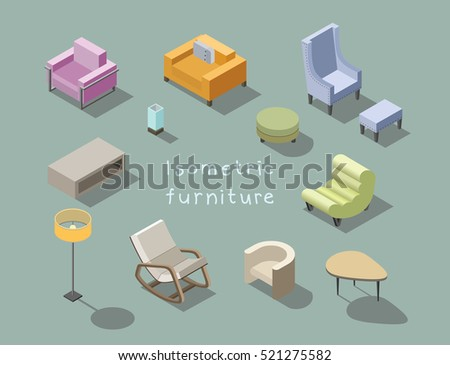 Vector Isometric Set Of Modern Living Room Furniture, Home Constructor,  Armchair, Pouf,
