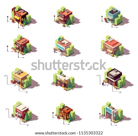 Vector isometric shop and stores icon set. Includes auto parts store, antique and souvenir gift shops, bookstore, beach shop, post office, photo print shop, copy center, pet shop, laundromat and other