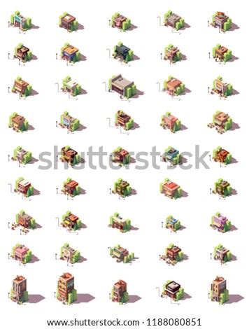 Vector isometric shop, restaurants and shops icon set. Includes food, clothes, electronics, tools, bicycle shops and different types of restaurants including fast food, bar and bistro