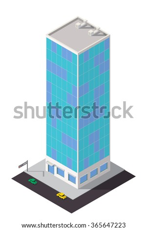 Vector isometric skyscraper. City map building 3d element.