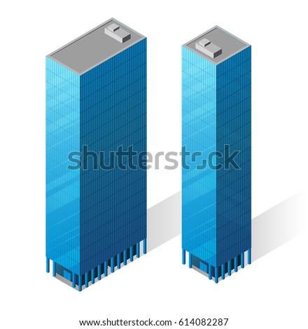 Vector isometric skyscrapers icons.