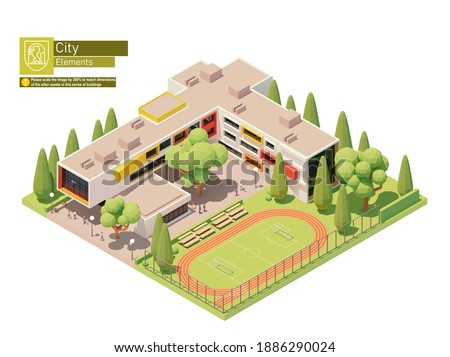 Vector isometric small modern school building with schoolyard and stadium. Educational building exterior. Isometric city map elements