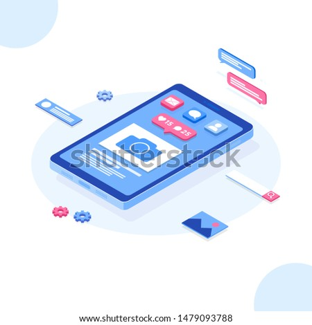 Vector isometric social media concept. Mobile phone and push notification with likes, new comments, messages and followers. Set of social media notification. online sharing, messaging and marketing