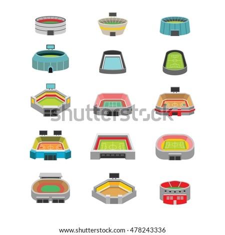Vector isometric stadium buildings set. Includes football (soccer), american football, baseball, basketball and tennis arenas.