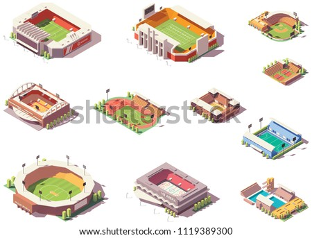 Vector isometric stadiums, arenas and rink set. Includes football, soccer, basketball, baseball, tennis and other stadiums and playing fields