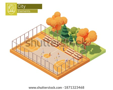 Vector isometric street basketball court. Streetball playground. Basketball players on the outdoor court. Sport field equipped with hoops and benches for spectators. Isometric city map elements Сток-фото ©