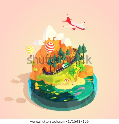 Vector isometric summer travel and vacation on tropical island illustration. Car and bus road trip, mountain road, airplane travel, hot air balloon trip, sunny beach and sea waves