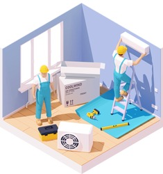 Vector isometric technicians installing or fixing home air conditioner. Workers with tools in the room providing repair and maintenance works, split system air conditioner on the wall