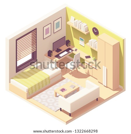 Vector isometric teenager or student room interior cross-section bed, desk and computer, cabinet, bookshelves, tea table and sofa