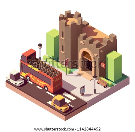 Vector isometric tourist attractions icon representing ancient castle or fortress, hop on hop off tourist bus, city map on the billboard and tickets sign