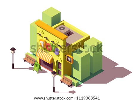 Vector isometric toy store with signboard and awning