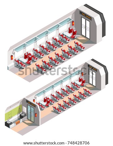 Vector isometric train cross-section interior