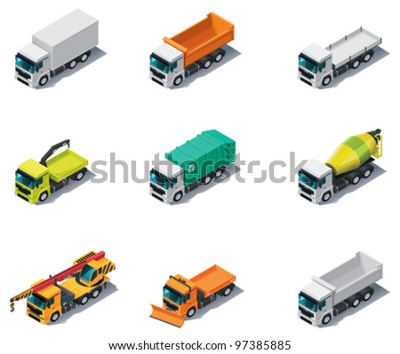 Vector isometric transport. Trucks icon set