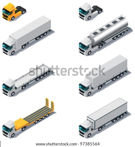 Vector isometric transport. Trucks with semi-trailers