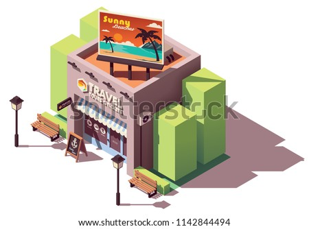 Vector isometric travel agency office with tourism related billboard