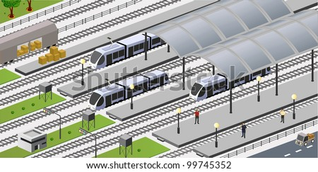 Vector isometric view of the city station - stock vector