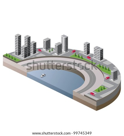 Vector isometric view of the city to the quay and the ship