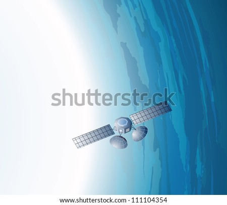 Vector isometric view of the earth and the satellite