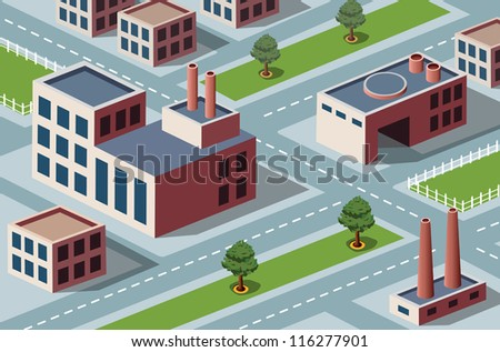 Vector isometric view of the industrial district
