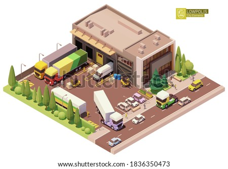 Vector isometric warehouse building. Warehouse building exterior. Industrial facility. Office, loading docks, forklifts, pallets, trucks. Isometric city or town map construction elements