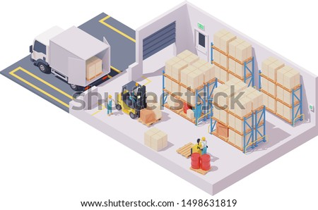 Vector isometric warehouse interior, forklift loaded with boxes on pallet, box truck, forklift driver and warehouse worker, pallet storage racks, crates and barrels