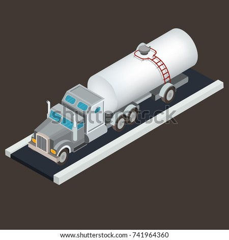 Vector isometric white tanker truck for transportation of oil, petroleum or water is on the road section. Concept of commercial transportation of liquid cargo, freight transport