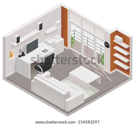 vector isometric working room