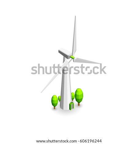 Vector isometry. Windmill electricity generator. ecological alternative energy