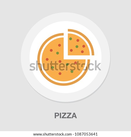 vector italian pizza illustration, fast food sign - restaurant symbol isolated