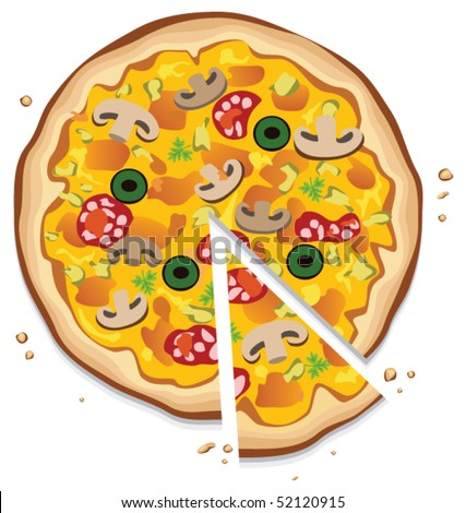 vector italian pizza with a slice, on white background