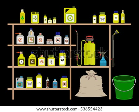 Vector items for gardening, agriculture and farming: pesticide, toxic chemicals and fertilizers ストックフォト ©