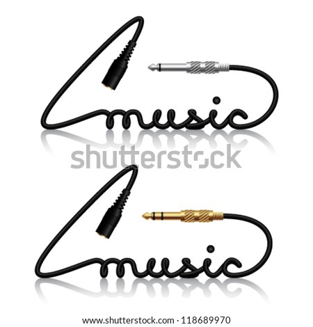 vector jack connectors music calligraphy
