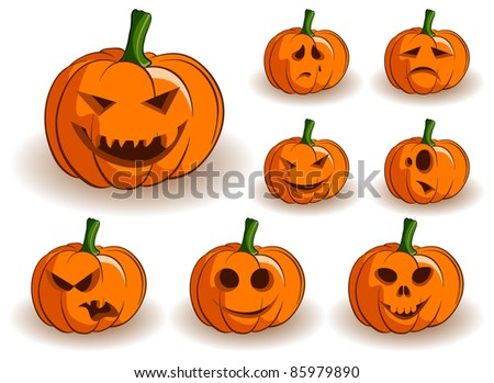 Vector Jack-o-lanterns collection on a white background