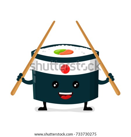 Vector japan ninja sushi with chinese sticks flat design cartoon character illustration. Sushi roll Isolated on white background. menu concept