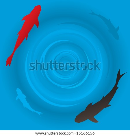 Vector - Japanese koi or carp fish swimming in a circle  - stock    Japanese Koi Fish Swimming