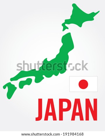 vector japanese map and flag
