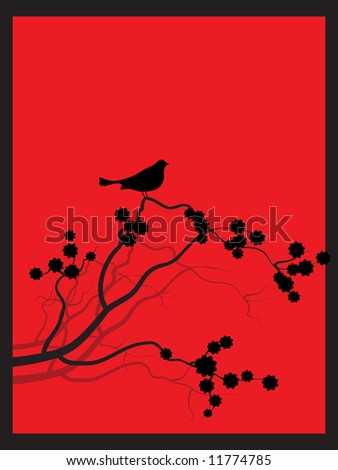 Vector - Japanese spring flower zen style with bird perched on the branch.