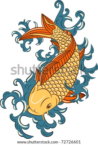 stock vector vector japanese style koi carp fish hand drawn