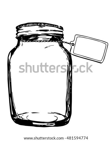 Vector jar with label. Hand-drawn artistic illustration for design, textile, prints.