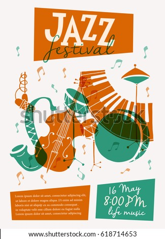 Vector Jazz festival poster template. Saxophone, double bass, piano, trumpet, bass drum and snare drum. Perfect for music events, jazz concerts.