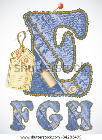 Vector jeans alphabet with flower label and blank space for your text