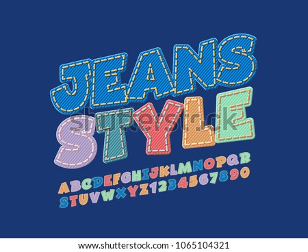 Vector Jeans Style Alphabet Set Rotated Denim Font Fashion Design Letters Numbers And