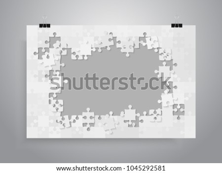 Vector jigsaw puzzle poster template hanging on clip binders. Puzzle grid simple background, banner, blank, backdrop. Jigsaw frame outline details abstract creativy illustration.s Background.