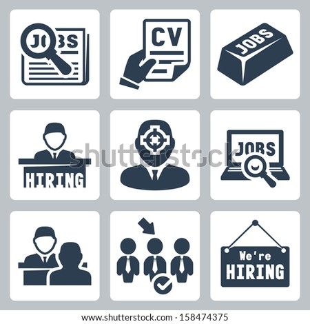 Vector job hunting, job search, human resources icons set