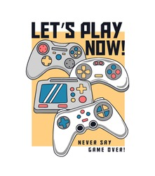 Vector joysticks gamepad illustrations with slogan texts, for t-shirt prints, posters and other uses.