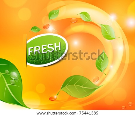 Shutterstock Vector juicy, fresh background with leaves and drops